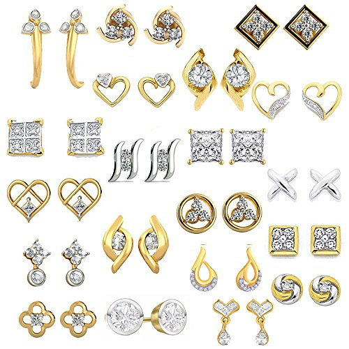 Kaizer Jewelry Present Combo of 20 Trendy American Diamond Earrings for Women Girls at Wholesale Price Earrings Gold Plated DS-01