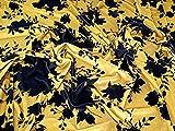 Floral Print Stretch Samt Velours Kleid Stoff schwarz auf
