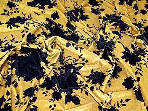 Floral Print Stretch Samt Velours Kleid Stoff schwarz auf gold-Meterware