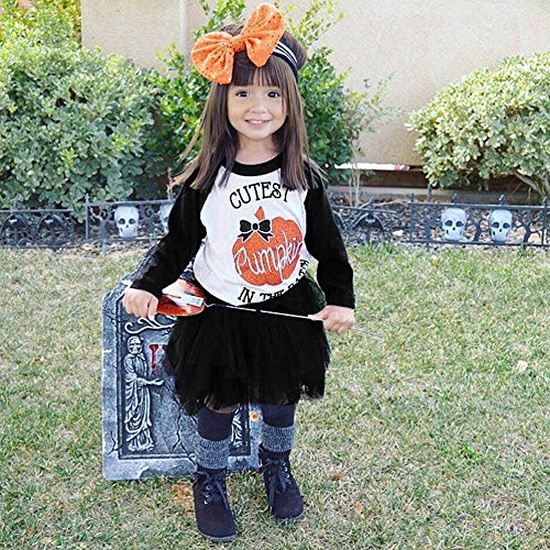 Sommer Kleider Mädchen Ärmellos Kleid beiläufige KleiderPrint Stickerei Freizeitkleidung 6Pcs Infant Baby Girls Kürbis Tops + Tutu Rock Halloween Kleidung Outfits Set HEVÜY (Halloween Baby-mädchen Tutu-outfits)