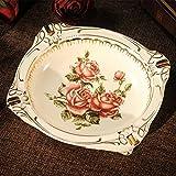 Cenicero de cerámica Gran moda Personalidad creativa Hogar Sala de estar Mesa de centro Oficina Cenicero Decoración retro, Queen Rose Royal Ashtray
