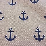 Stoff Meterware Baumwolle natur Anker blau marine Dekostoff