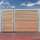 Einfahrtstor 300 x 180cm 2 Flügel Asymmetrisch Verzinkt + Holz Tor Gartentor Auffahrtstor Doppelflügeltor Holztor inkl Pfosten NEU