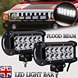 Coppia LED work Light bar flood Beam 36W per moto fuoristrada SUV ATV 17,8cm super Bright Lighting Lamp, UK stock 2anni di garanzia