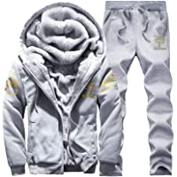 Homebaby Tuta Sportiva da Uomo Caldo Giacca con Cerniera Felpe Pantaloni Set Tuta da Ginnastica Autunno Inverno Vello…