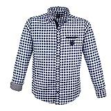 Lavecchia Übergrößen Herrenhemd bis 7XL mit langem Arm – trendiges Männerhemd im Karomuster mit Button-Down-Kragen in Jeans-Blue-White (7XL)