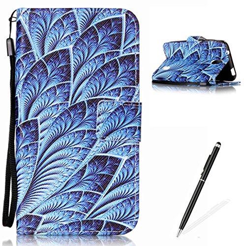 Feeltech Hülle für Huawei Y625 Weich Magnet PU Brieftasche Elegant Kartenfach Extra Dünn Schutzhülle Bunte ReLife MusterKarte Halterung Klapp Ledertasche - Blaues Blatt