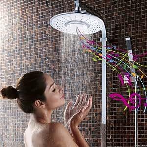 iRainy SH-BS07 Pommeau de Douche + Waterproof Haut-parleur Bluetooth sans Fil pour la Musique & Appel à Bath – Blanc