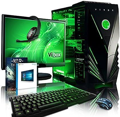 "VIBOX Apache 9 - Ordenador para gaming (21.5"", AMD FX-6300, 16 GB de RAM, 1 TB de disco duro, Nvidia Geforce GTX 960, Windows 10) color neón verde - Teclado QWERTY Inglés"
