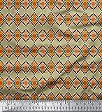 Soimoi Beige Samt Stoff Diamant & Chevron geometrisch Stoff Drucke Meter 58 Zoll breit