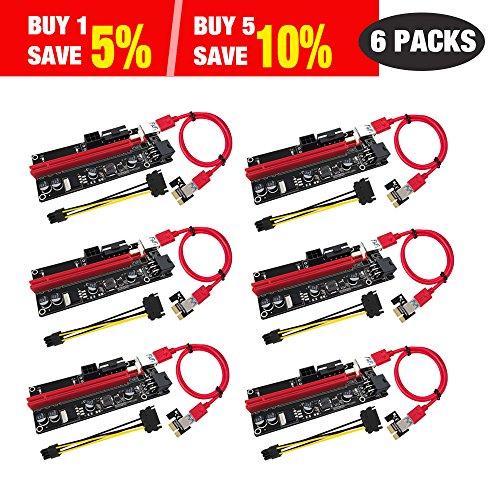 Lot de 6 Riser PCIe 1x à 16x pour RIG cable USB 3.0
