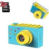 "ShinePick Impermeable Cámara Fotos Niños, Zoom Digital de 4X / 8MP / 32GB Tarjeta / 1080P HD / 2"" TFT LCD de la Pantalla Cama"