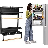 Étagère magnétique à épices pour réfrigérateur - 19,4 x 14,5 x 12,7 cm - Grande capacité - En acier inoxydable - Avec 4…