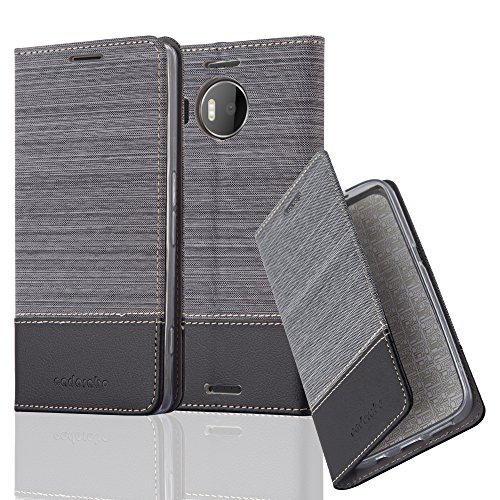 Cadorabo Hülle für Nokia Lumia 950 XL - Hülle in GRAU SCHWARZ – Handyhülle mit Standfunktion und Kartenfach im Stoff Design - Case Cover Schutzhülle Etui Tasche Book