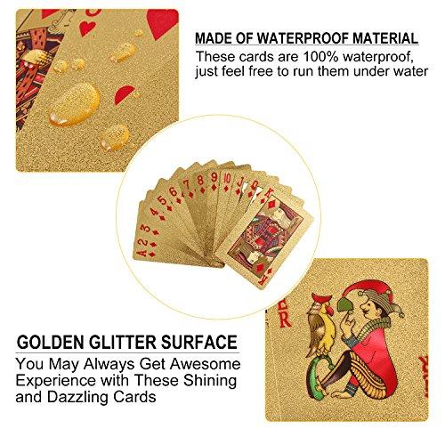 YoungRich Cartas Poker de Oro Póquer de Lujo Con Euro Patrón Impermeable para Regalo  Juegos de Naipes Trucos de Magia en Fiesta