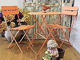 Keyhome Set arredo Giardino Tavolo e 2 sedie in Ferro colorato - Tavolo Rotondo da caffè Design Vintage per Interno ed Esterno - 60x70 cm