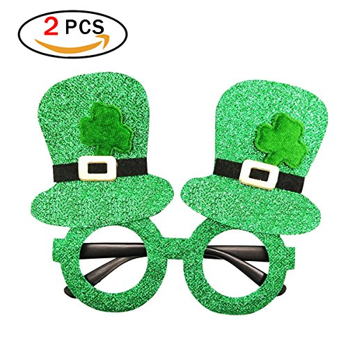 Isuper 2er Pack St Patrick Tag Brillen mit Hut aus Kunststoff Saint Patricks Day Dekoration, grün (Patricks St Tag-brille)