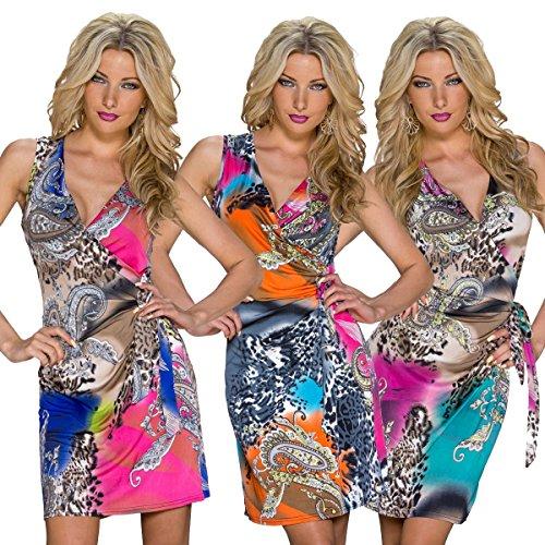 Fashion4Young k1067 maille sans manches pour femme robe d'été robe robe courte avec décolleté en v - Pink Multicolor