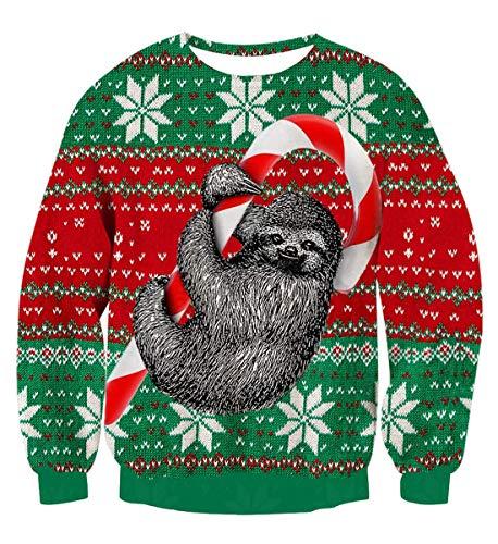 Idgreatim Herren Damen Weihnachtspullover Ugly Christmas Sweater Hässliche Weihnachten Pullover Jumper 3D Gedruckt Langarm Strickpullover, Sloth Green, M