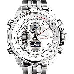 Mode Leuchtuhr Kalender Alarm Dual Zeit Multifunktional Herren Armbanduhr, Weiß