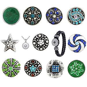 Morella Damen Click-Button Paradies Set 11 Druckknöpfe mit Halskette Edelstahl 70 cm und Armband