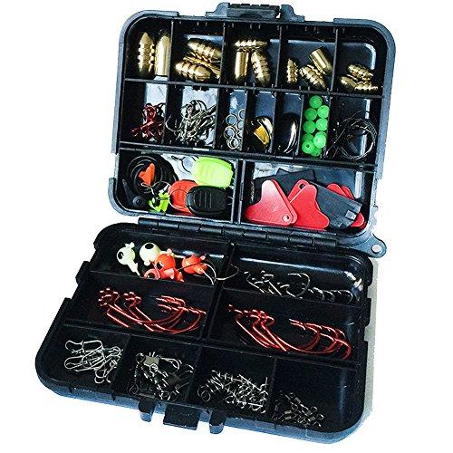 GossipBoy-Set de 128 accesorios de pesca, ideal para pesca de agua dulce o salada, caja rígida que incluye anzuelos