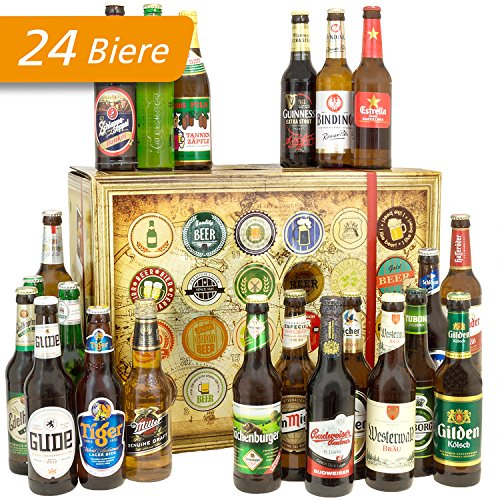 24x Biere aus aller Welt + Deutschland | Inkl. Bier Geschenkverpackung + Geschenk Karten Set + Bierbewertungsbogen | Geburtstagsgeschenk in Bierbox (Bier Internationale)