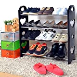 #9: WYVERN Portable Multipurpose Modern 4 Layer Metal Shoe Rack Shoes Storage Cabinet Best Foldable Movable Organizer