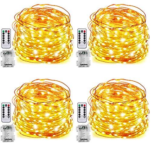 Tobbiheim 4 Stück Batterie Lichterketten Außen 50 LEDs 7 Meter IP68 Wasserdicht 8 Modi mit Fernbedienung und Timer DIY Dekoration Kupferdraht für Weihnachten, Garten, Hochzeit - Warmweiß (Timer Mehrere)