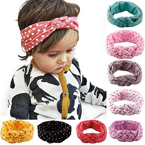 Samtlan Baby Turban Stirnbänder, Mädchen Kinder verknotete Stirnband Kopftuch Haarband, Kaninchenohren Knit Head wraps, Prinzessin Stretch (8 Stück Frieden Knoten) (Matilda Kostüm)