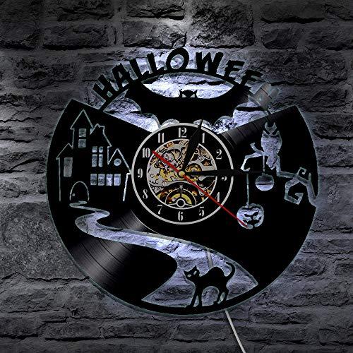 llsmting Wanduhren,Uhren,Wecker Vinyl Record Bat Halloween Led-Beleuchtung Modernes Design 3D Ative Hanging Classic Cd Watch Kann Gut Dekorieren Home Office Kaffee Bar Hotel (Halloween Bat Design)