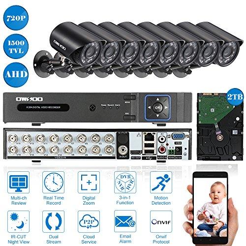 OWSOO-CCTV-Kit-16-Canales-DVR-H264-Full-720P-2TB-Disco-Duro-8x-720P-1500TVL-AHD-Cmara-Bala-de-Vigilancia-8x-60ft-Cable-PTZ-AndroidiOS-APP-Control-Deteccin-de-Movimiento-Visin-Nocturna