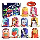 BeebeeRun 10Pack Bolsas de Cuerdas para Infantil, Cordón Mochila Bolsas Regalo Cumpleaños Deporte Gimnasio Backpack para Niños Niñas Fiesta de Cumpleaños