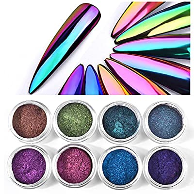 Chameleon Mirror Neon Nail Powders , Mumustar UV Gel Nail Glitters Dust Neon Chrome Mermaid Rainbow Reflective Holo Pigment Manicure Nail Art Beauty Design