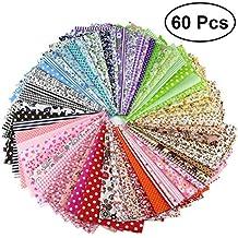 VORCOOL Cuadrados de Tela de algodón Que acolchan Hojas de Tela precortada Floral de Costura para