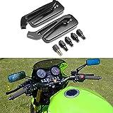 Specchietti Retrovisori Moto 8MM 10MM con Design a Forma Rettangolare per Honda Kawasaki Suzuki Cruiser Chopper - Nero