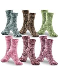WOSTOO Mujer Invierno Cálidos Calcetines, Premium Calidad 6 Pack Grosor algodón de Punto Calcetines Mujer