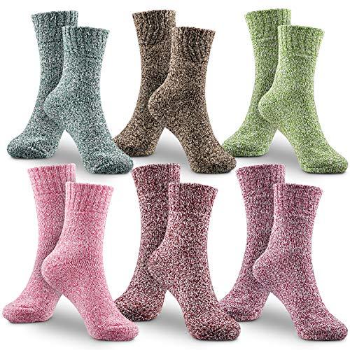 WOSTOO Damen Winter Warme Socken, Premium Qualität 6 Pack Dicke Baumwolle Stricksocke Damen Bunte Farben Baumwollsocken Einheitsgröße Atmungsaktiv Warm Weich
