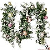 Valery Madelyn 6ft 1.8m beleuchtet gefrorener Winter Silber Weiß Rosa Weihnachtsgirlande mit bruchsicherlichen Kugel und Zubehör, batteriebetrieben 20 LED-Lichter mit Fernbedienung