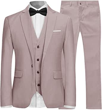 Mens Suits 3 Piece Slim Fit Wedding Formal Tuxedo One Button Close Blazers Jacket Waistcoat Trousers