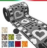 Tappeto cucina cuori SU MISURA AL METRO h57cm bordato tessitura 3D retro antiscivolo mod.CLELIA passatoia metro BORDO' (L)