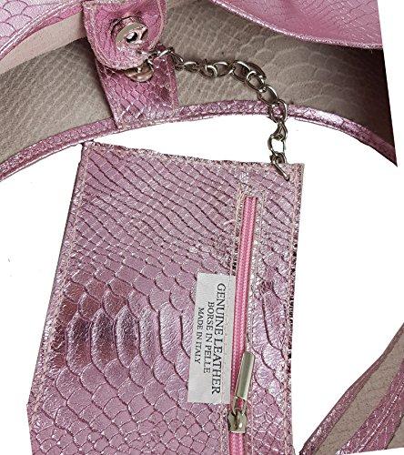 cf9123a7a2d76 ... Damen Ledertasche Shopper Wildleder Handtasche Schultertasche  Beuteltasche Metallic look Rosa Snake ...