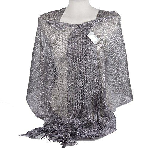 Emila stola cerimonia coprispalle elegante a rete con frange foulard scialle grande argento l190xh70