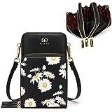Jangostor Mini bolso bandolera para mujer con flores de margarita, monedero pequeño para teléfono móvil Billetera de cuero li