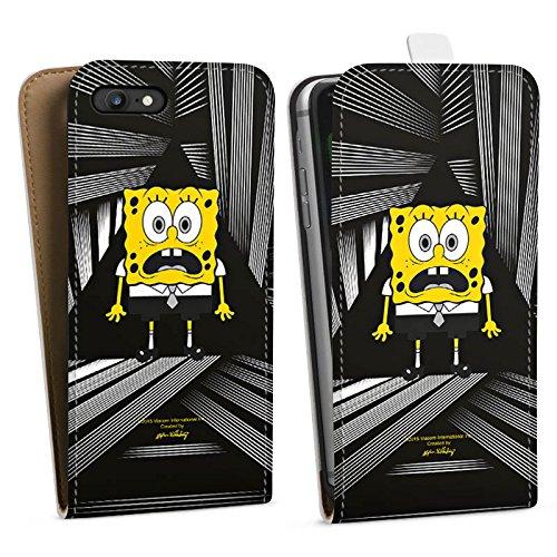 Apple iPhone X Silikon Hülle Case Schutzhülle Spongebob Fanartikel Merchandise Spongebob Schwammkopf Downflip Tasche weiß