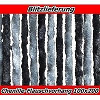 XXL Flauschvorhang Türvorhang Fliegenschutz 100x200schwarz-silber aus Chenille