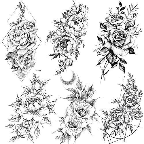 COKTAK 6 BläTter Groß Schwarz Rose Blume Temporäre Tattoos Frauen Körper Arm Beine Päonie Geometrisch Tattoo Aufkleber Gefälscht Wasserdicht Skizzieren Tätowierung Sexy Pfingstrose Temporary Tattoos