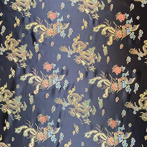 Schwarz 114,3cm breit geflochten Chinesischer Drache Brokat Kleid Stoff-Meterware -