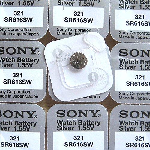 Sony 321 SR616SW Silberoxyd Uhrenbatterie Quecksilberfrei Pack von 10