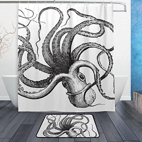 jstel Octopus schwarz und weiß 3-teiliges Badezimmer Set, maschinenwaschbar für den täglichen Gebrauch, inkl. 152,4x 182,9cm Wasserdicht Duschvorhang, 12Dusche Haken und 1anti-Teppich Carpet-Set (Rotbraun Und Schwarz Teppiche)